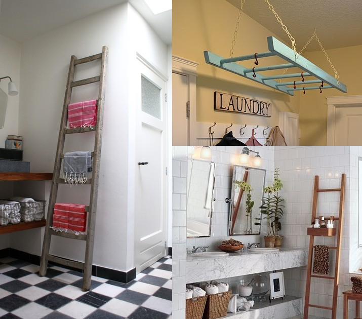 Ladder Décor | Repurpose, Laundry rooms and Laundry