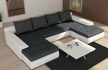Canape D Angle Convertible Contemporain Smart Coloris Blanc Et Noir En Pu Et Tissu Canape Angle Convertible Canape Angle Idees De Decoration De Salon