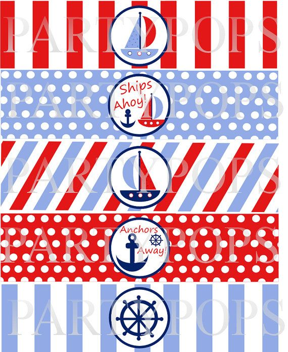 DIY Digital Nautical Party Printable Water Bottle by PartyPops ...
