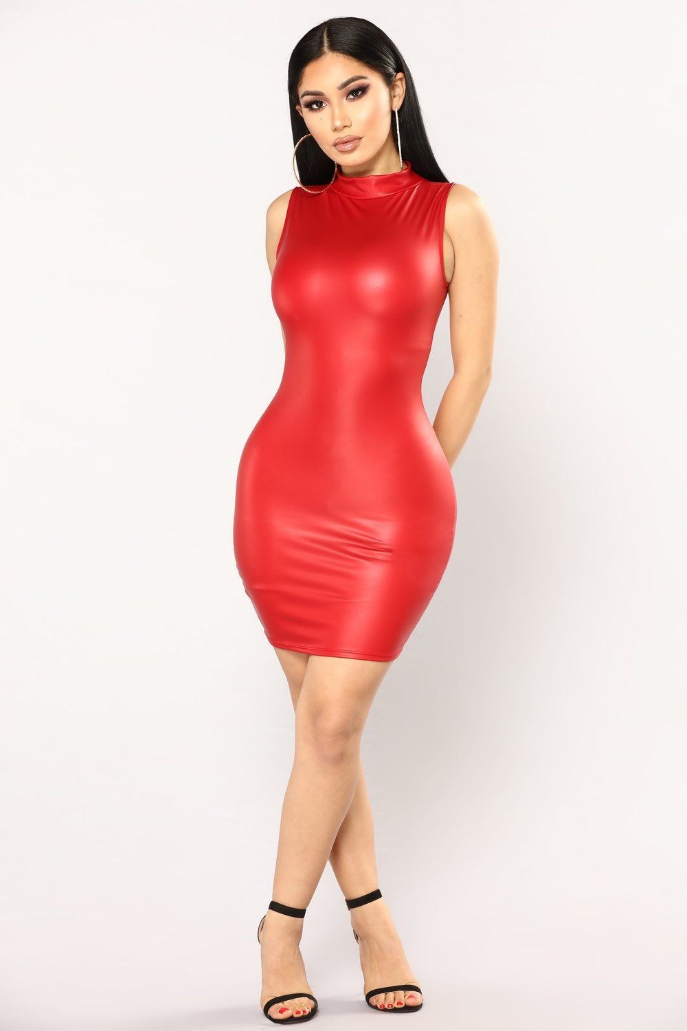 Through The Dark Latex Dress - Red  fe8109268