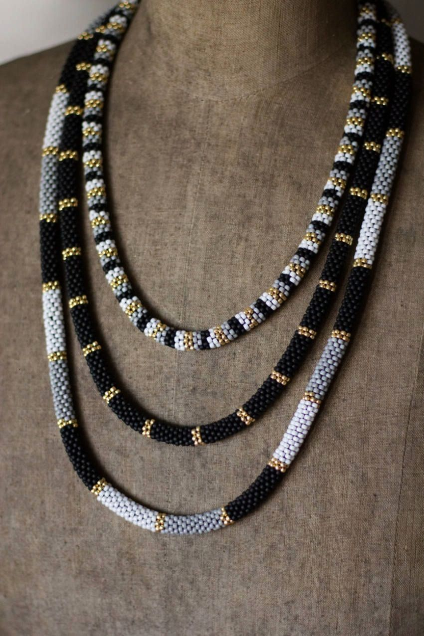 Gold Multistrand Necklace Three Tier Beadwork Necklace African Necklace Dainty Black Gold Necklace Striped Necklace Chic Jewelry Black Gold Multistrand Necklace Three Tie...