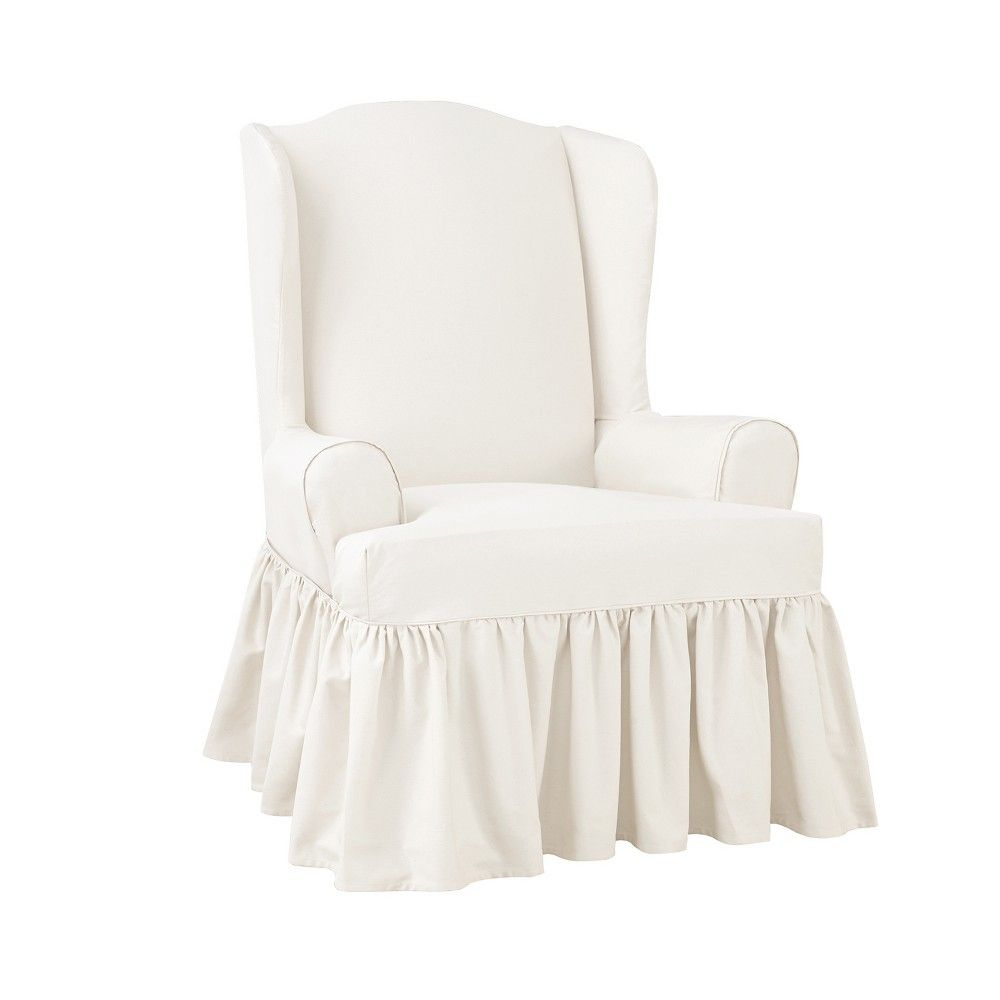 Essential Twill Ruffle Wing Chair Slipcover White Sure Fit Slipcovers For Chairs Wingback Chair Slipcovers Sure Fit