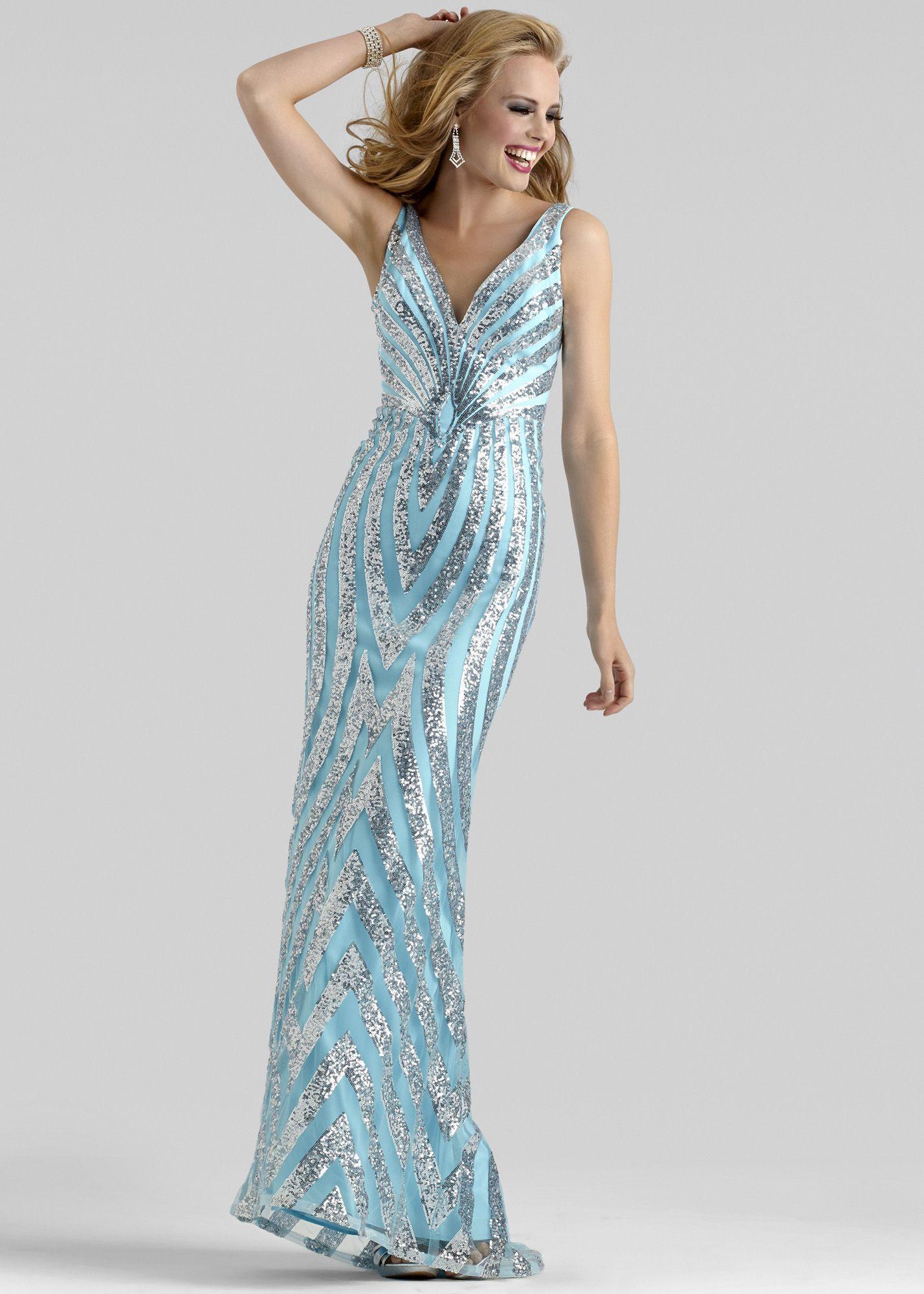Clarisse 2325 - Blue/Silver Sequin V-Neck Prom Dresses ...
