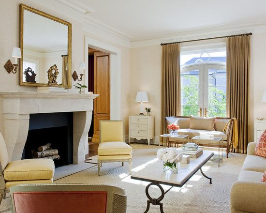 Wonderful Traditional House in French Style : Charming Living Room Design Fancy Coffee Table France Town House