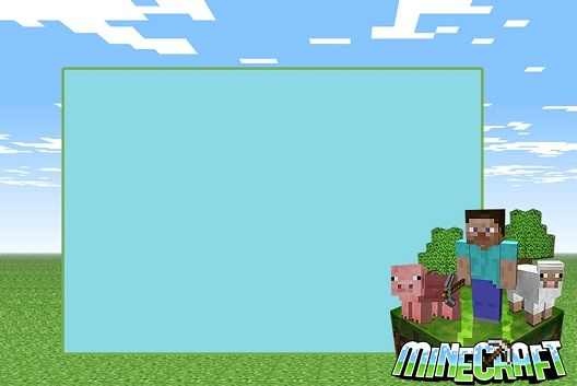 Etiquetas Tarjetas Marcos Invitaciones De Minecraft