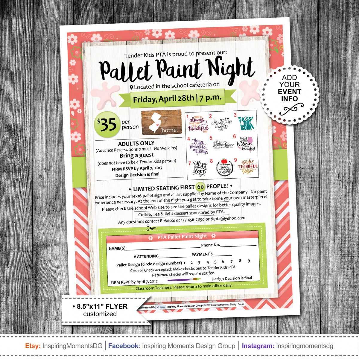 Event Flyer Printable  Pta Fundraiser  Ptn  Pallet Paint Night