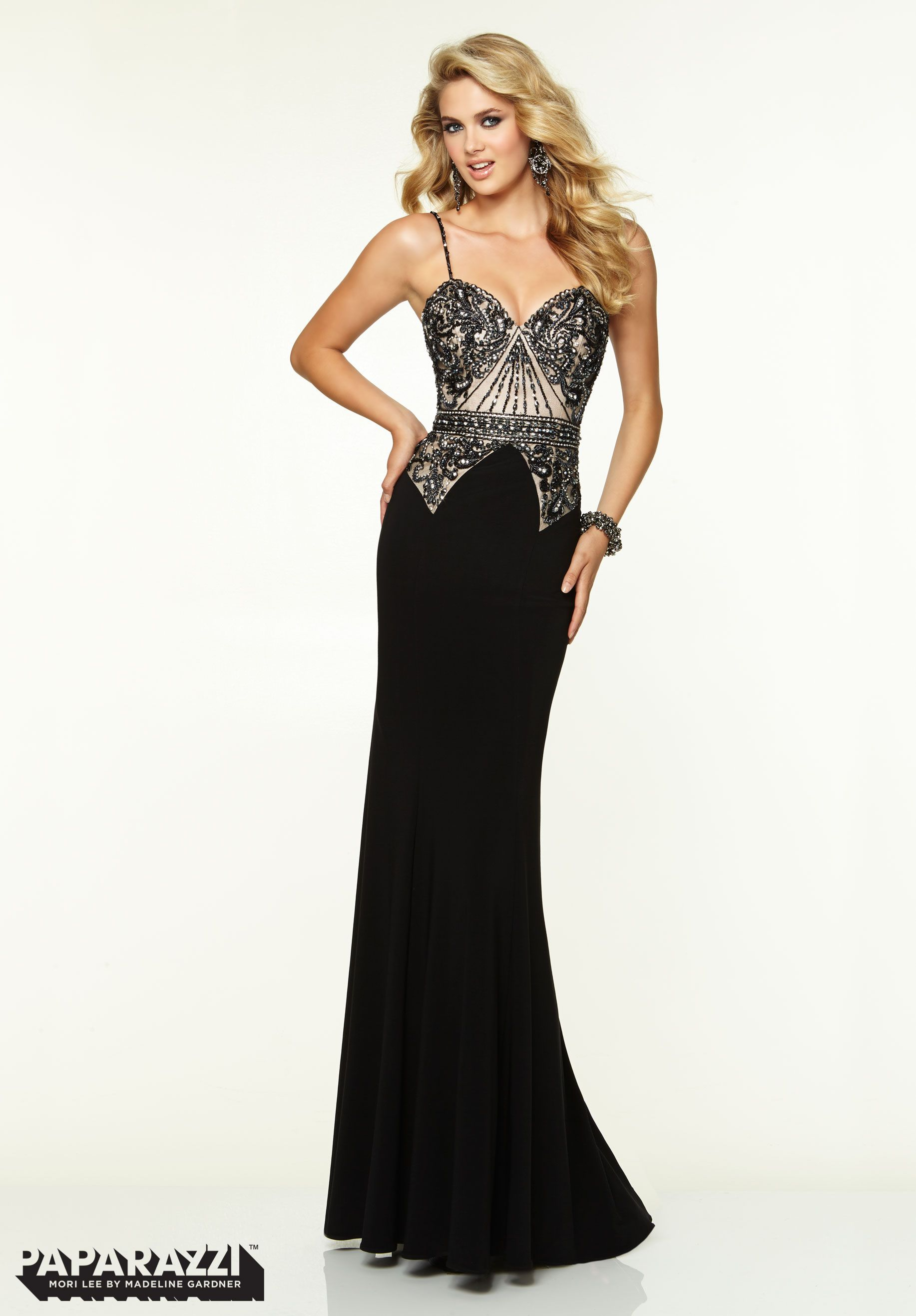 97104 Prom Dresses Gowns Beaded Net On Jersey Black Mori Lee