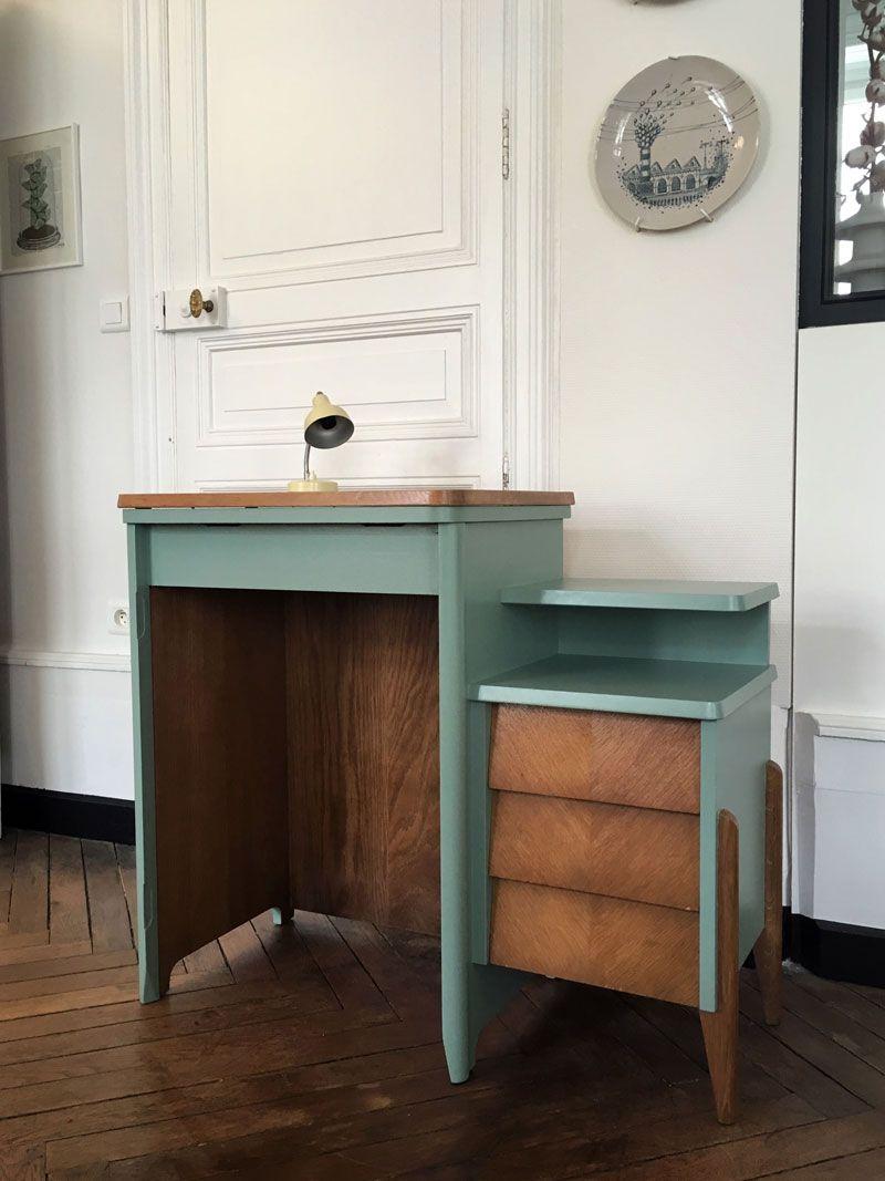 Bureau enfant vintage. Meuble machine à coudre relooké ...