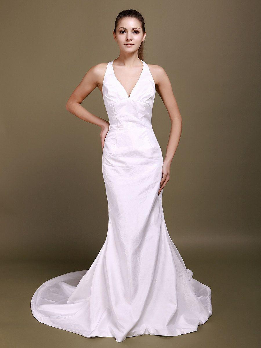 Halter v neck mermaid wedding dress with decorative back