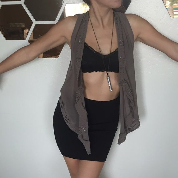 chiffon beaded vest a few little beads missing, but not noticeable Forever 21 Tops