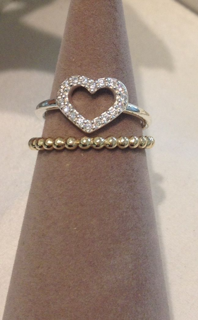 new valentine heart ring stacked with a gold ring pandora - Pandora Valentines Day Ring