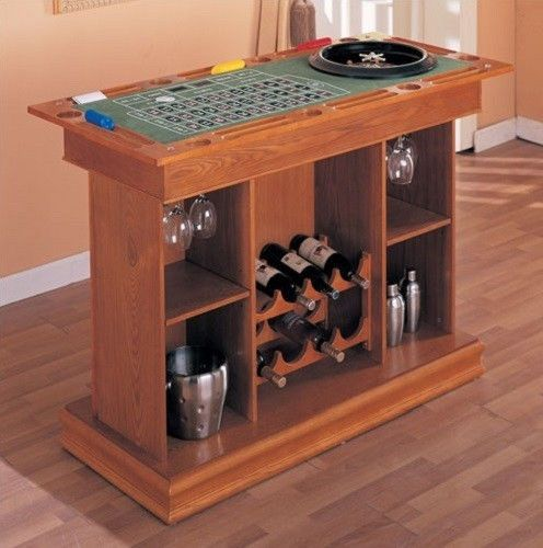 All In One Game Table Home Bar Unit Wine Rack Blackjack Roulette Craps Poker