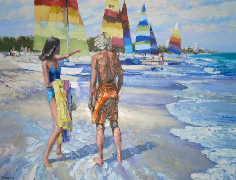 "Original Painting ""Untitled (Beach Scene) 1981"" by Howard Behrens"