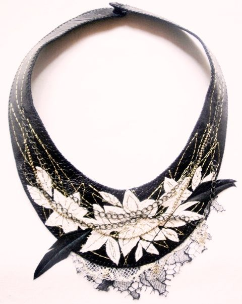 leather, embroidery, feathers, chains and lace by adrianadelfino.com
