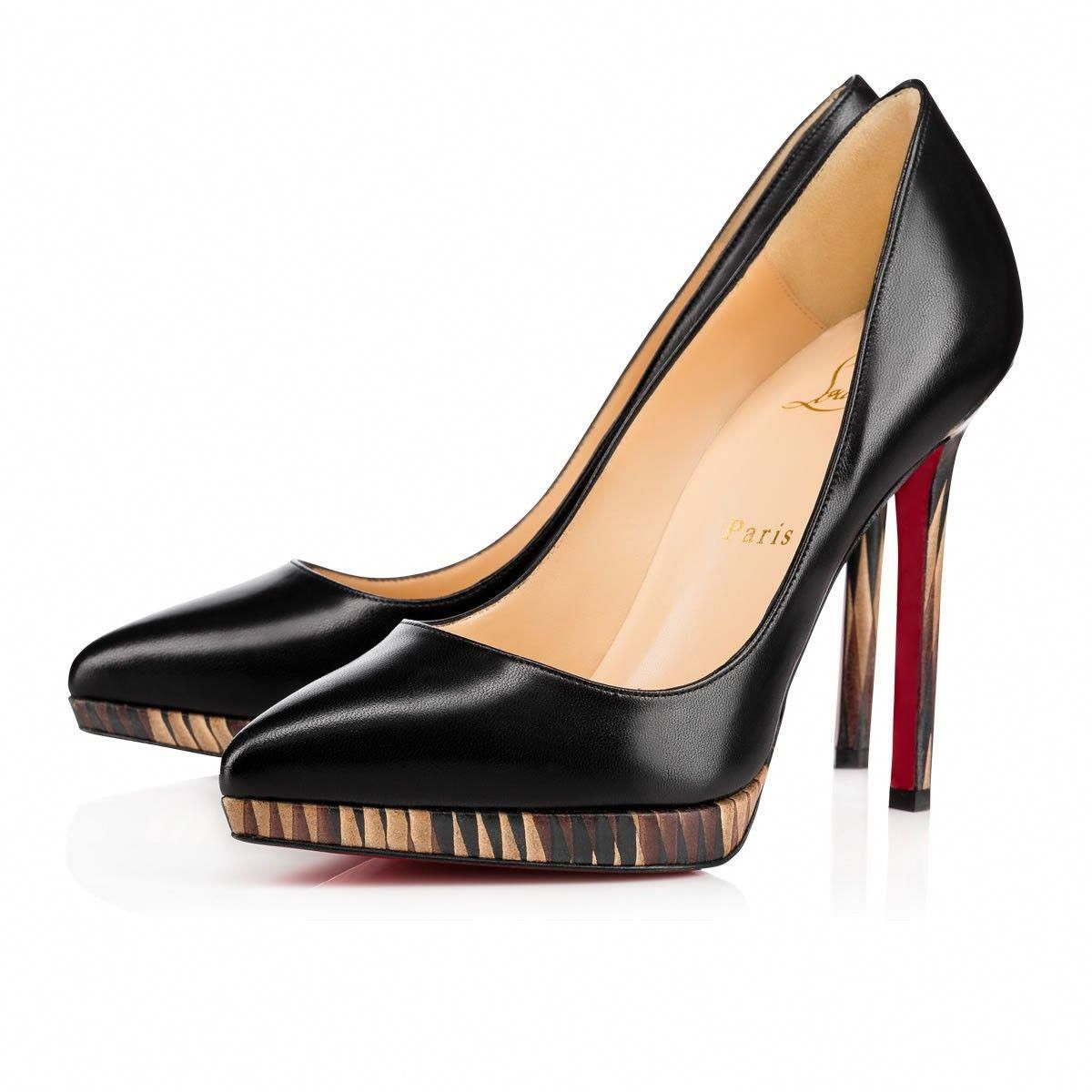 Christian Louboutin Pigalle Plato 120 Black Leather Women Shoes
