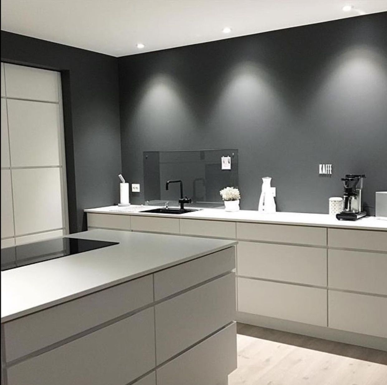 The Grey And White Contrasts Works Very Well In Kitchen