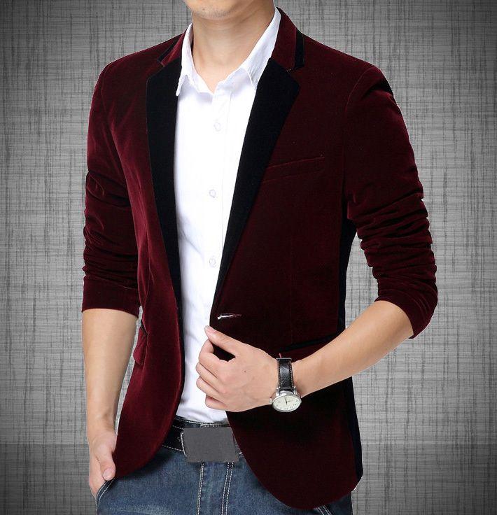 6b1c57bdd0843 Aliexpress.com  Comprar Hombres moda Casual Blazers vino diseñador de corea  con un solo botón juego de la chaqueta para hombre L1007 de traje de la  tienda ...