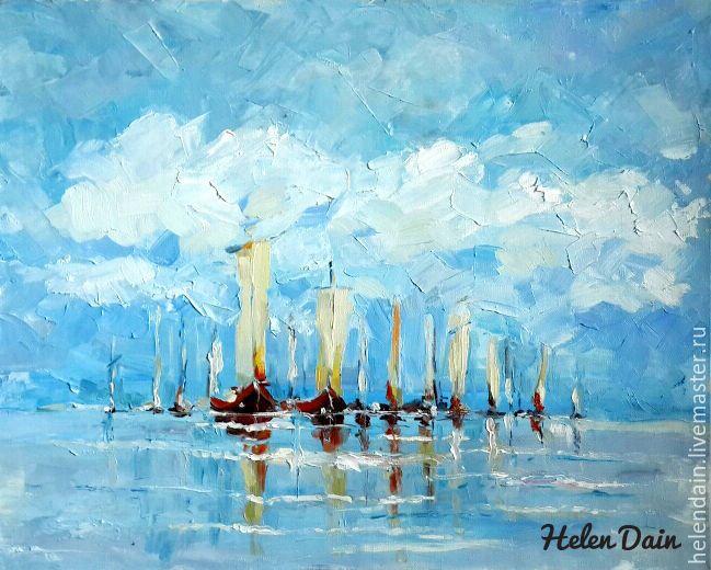 Купить Регата в синем море - голубой, море, море живопись, пейзаж маслом, морской пейзаж