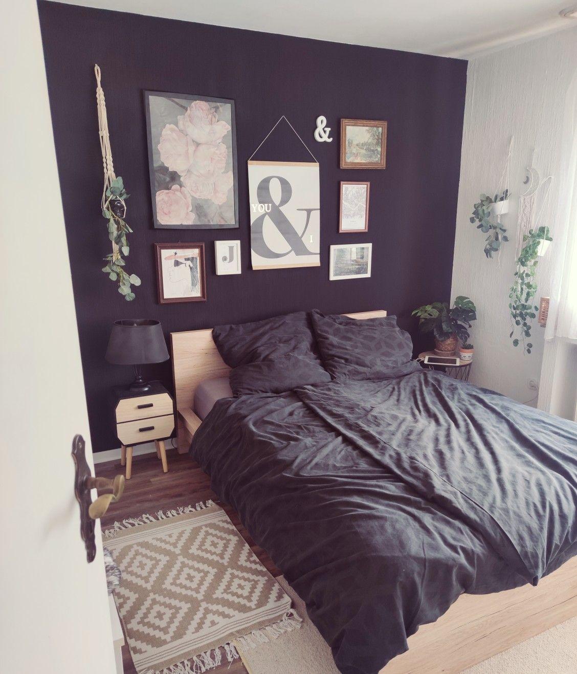 #bedroom#galerywall#blackwall#modern#boho#midcenturymodern#art#bedroominspiration