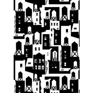 New York City Watertowers Wallpaper In Black White Design By Tom Slaughter For Cavern Home