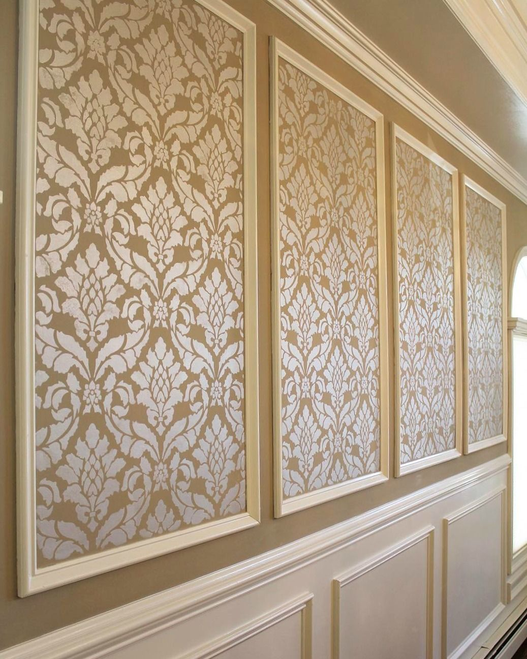 shimmery and elegant stenciled wall inset with modern masters