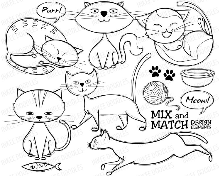 Cute Cats Doodles Digital Stamps