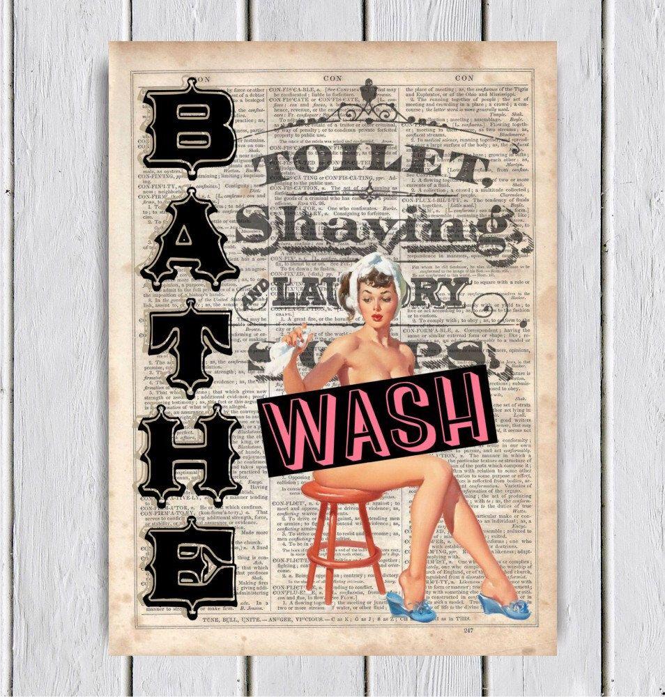Bathe And Wash Pinup Bathroom Decor Dictionary Art Print Upcycled Book