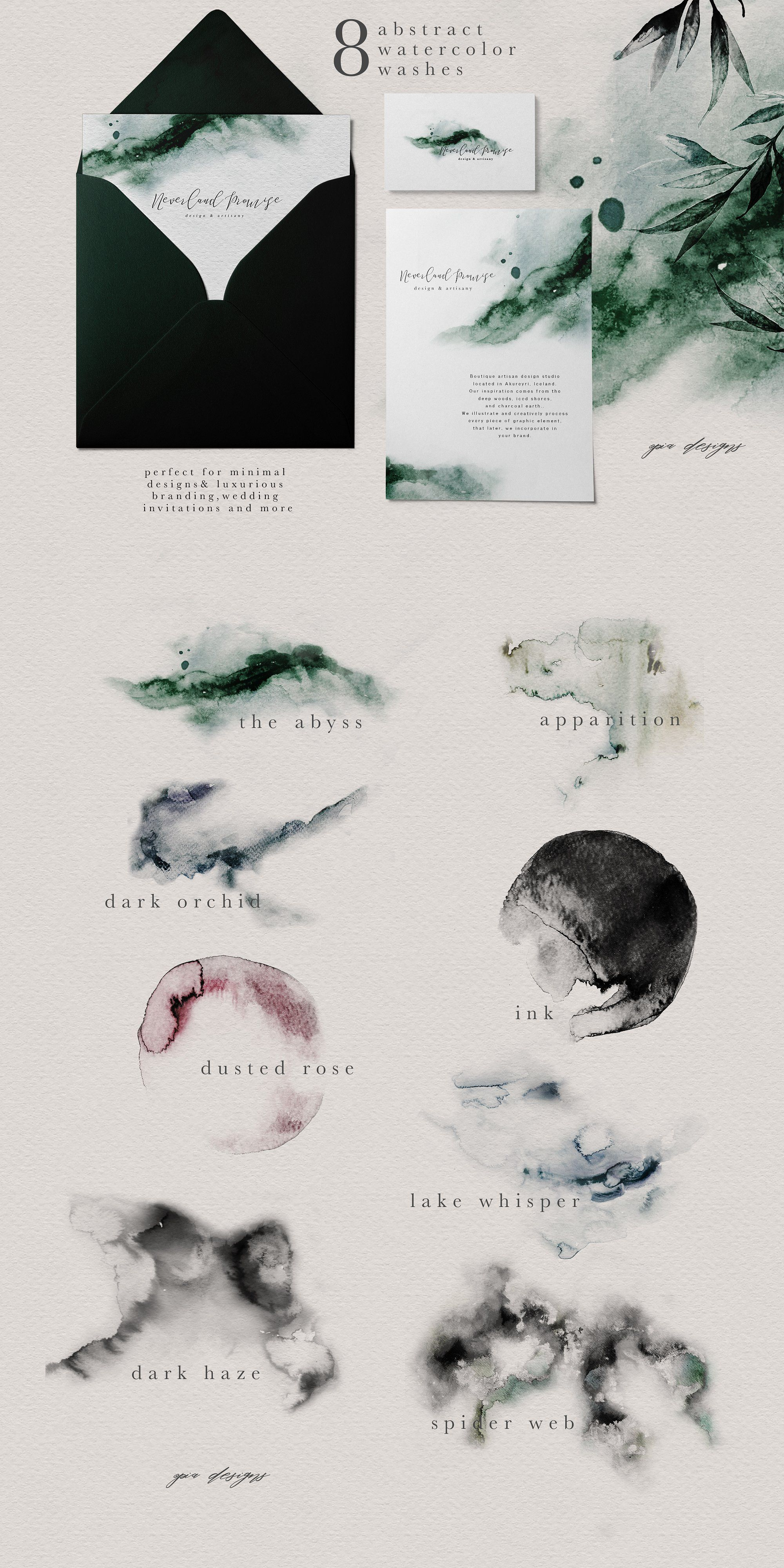 Ethereal Woodland Graphic Set Watercolor Typography