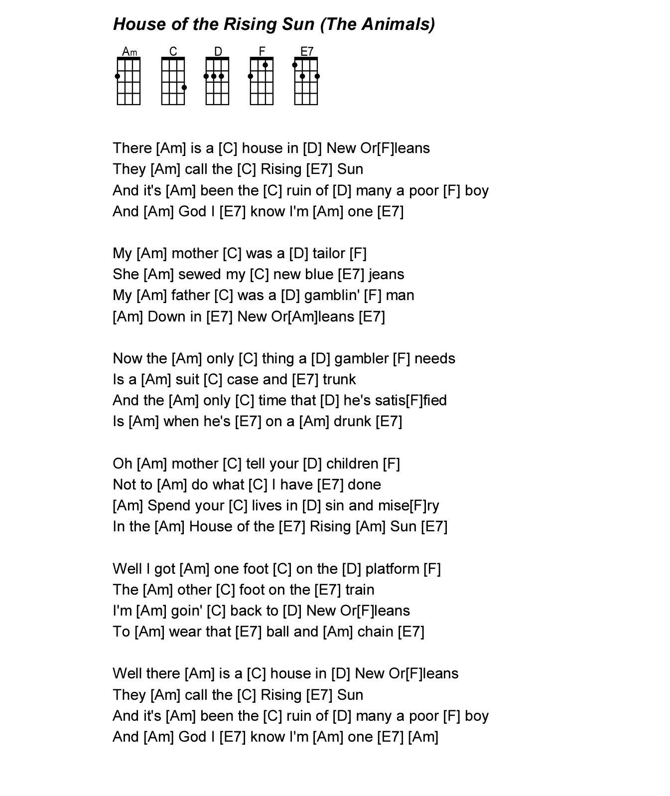 House Of The Rising Sun Uke Songs Pinterest Ukulele Ukulele