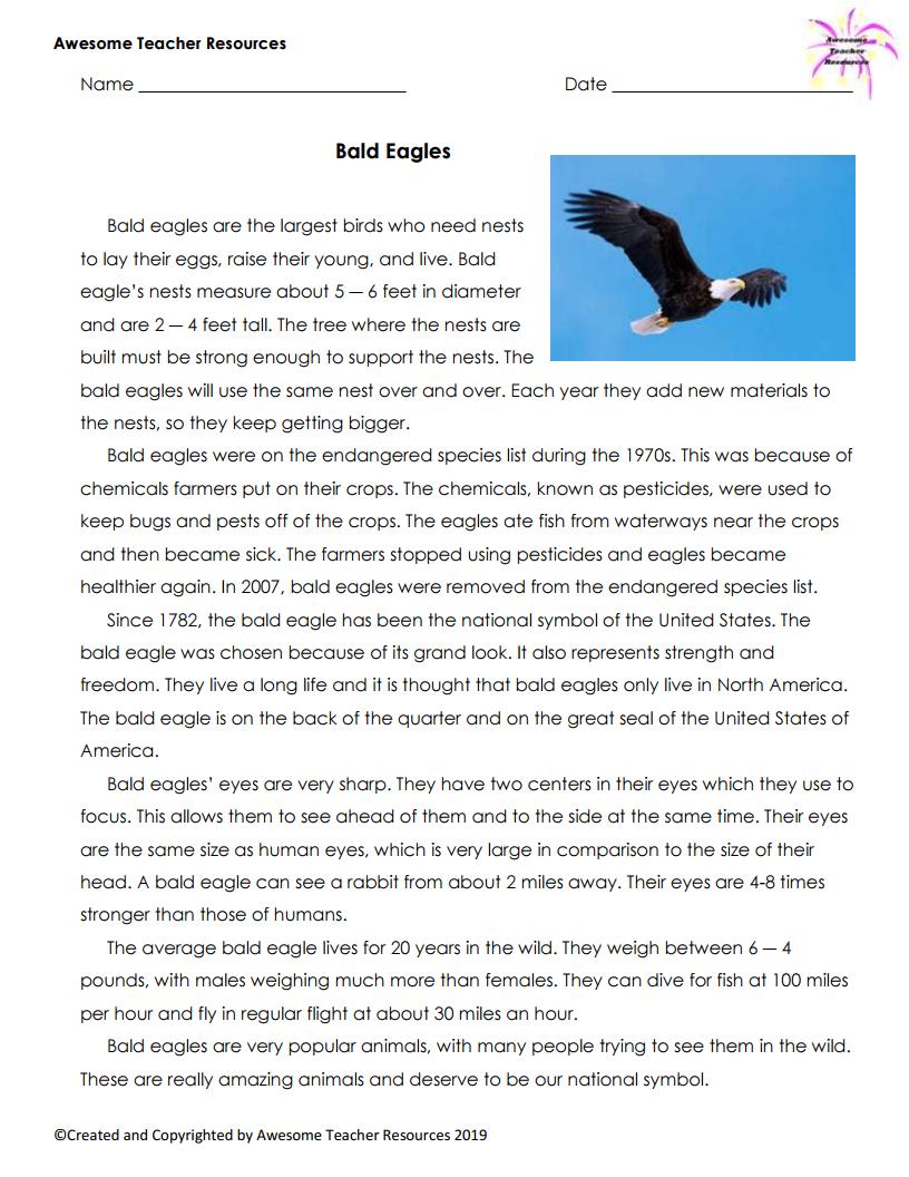 Bald Eagle Reading Comprehension Worksheet Reading Comprehension Worksheets Teacher Resources Reading Worksheets [ 1056 x 816 Pixel ]