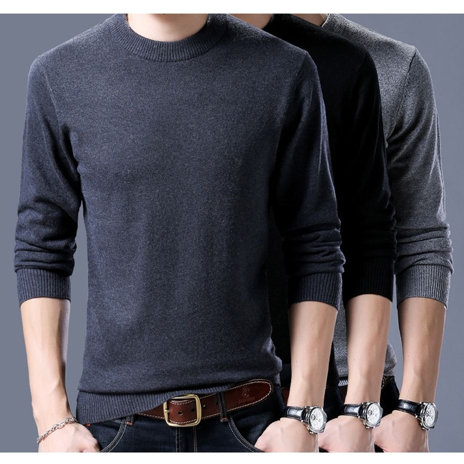 New Men s Wool Sweater Pullover Solid Color Fashion Casual O Neck Basic Knit  Tops for Autumn 0a62ad69b