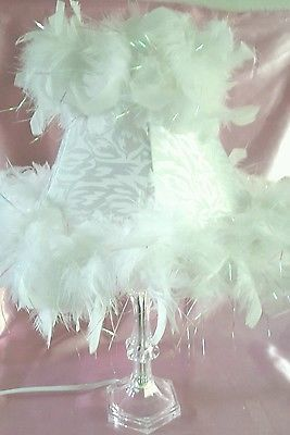 Shabby Chic White Feather Boa Trim Lampshade Acrylic Crystal Lamp Base Room
