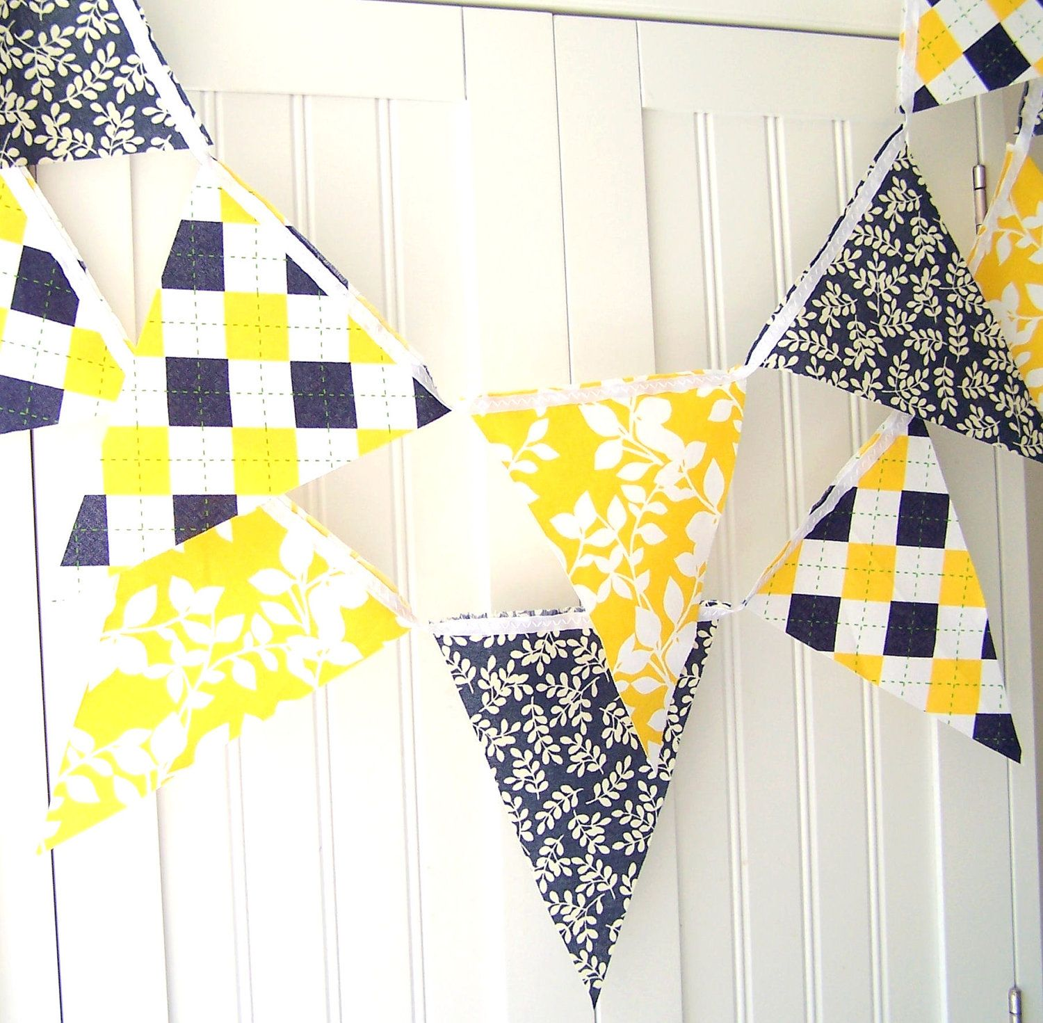 4 Feet Party Banner, Bunting, Navy Blue Leaves, Yellow Leaves, Navy ...