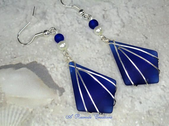Photo of Blue Wire Wrapped Cultured Sea Glass Jewelry Wire Work Beach Glass Earrings Summer Fashion Jewelry Womens Gift for Her Graduation Birthday