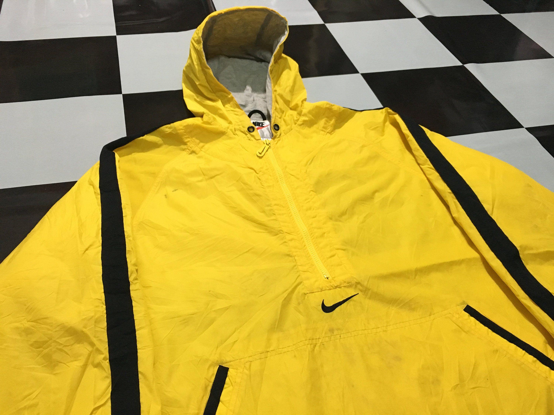 Vintage Nike Pullover Half Zip Windbreaker Anorak Jacket Swoosh Logo Embroidered Two Tone Jacket Yellow Black S Half Zip Windbreaker Anorak Jacket Vintage Nike