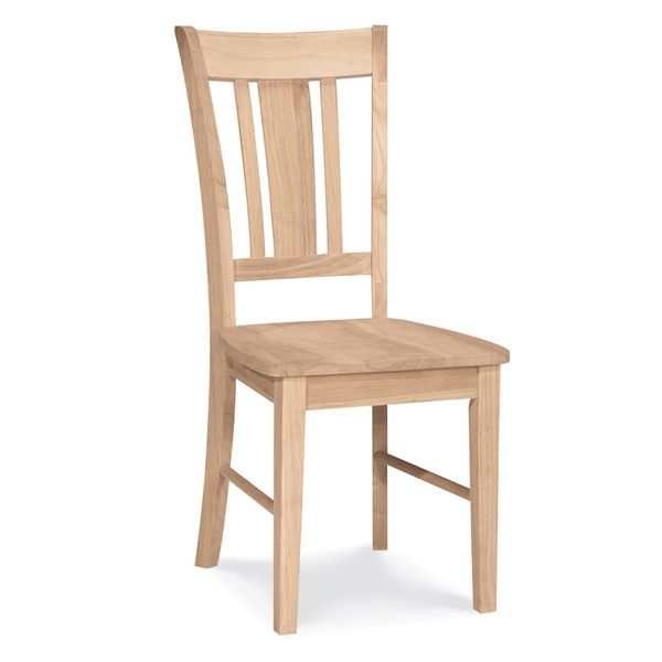 Unfinished Solid Parawood San Remo Slat Back Dining Chair Set Of 2