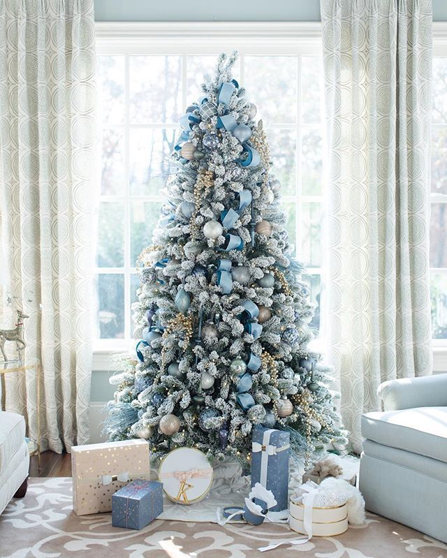 blue gray beauty by bluegraygal flocked christmas treesholiday treexmas - Blue Grey Christmas Decorations