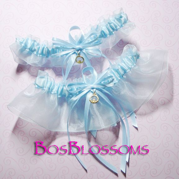Something Blue garter set w/Claddagh charms. I love what this charm represents: Loyalty, Love & Friendship