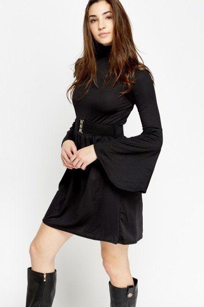 Flare Sleeve Belted Dress