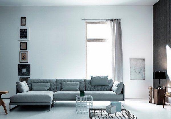 Gray Corner Sofa Original Coffee Tables Black Table Lamp Black Accent Wall