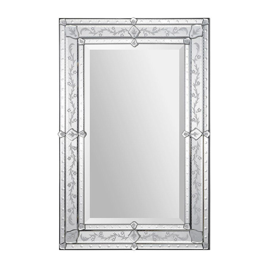 Overstock This Elegant Venetian Mirror Features A Classic Etched Pattern Frame Beveled Edges