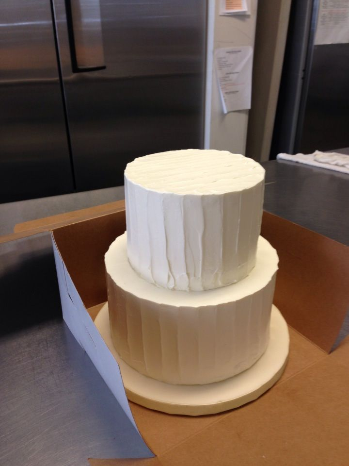 8 Inch Base And 6 Inch Top Two Tier Textured Butter Cream Wedding Cake Serves 24 Guests