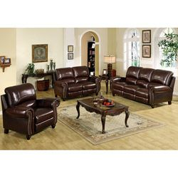 Abbyson Living Madison Premium Top Grain Leather Pushback Reclining Sofa Set