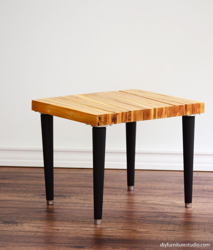 Diy Side Table Made With Upcycled Wood Shims And Customized Mid Century Modern Wadde Mid Century Modern Coffee Table Mid Century Coffee Table Coffee Table Legs