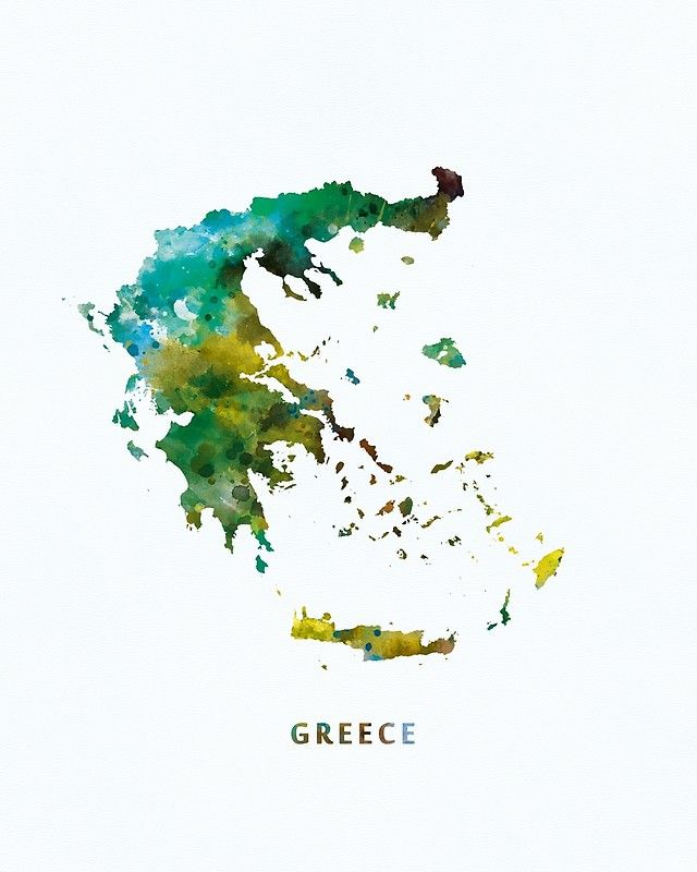 Greece #greece #europe #state #map #art #canvas #prints #decor #colorful #watercolor #gift #ideas #greek