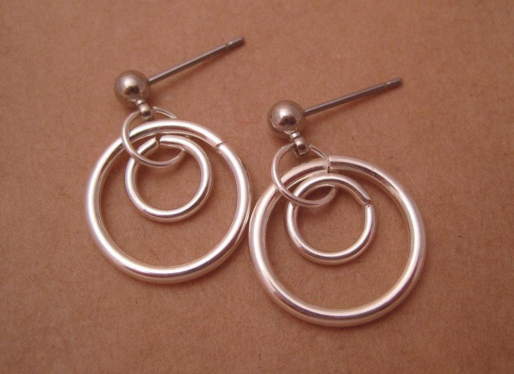 Surgical Steel Stud Earrings Double Hoops Hypoallergenic For Sensitive Ears