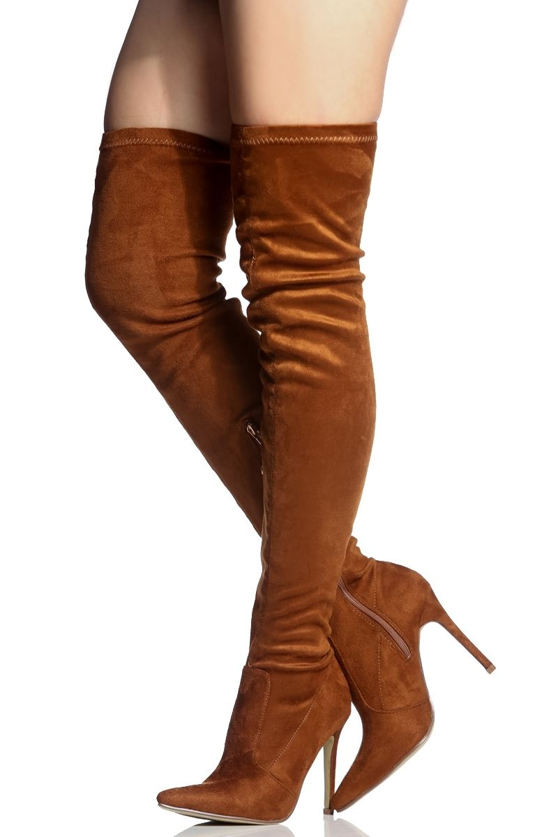 62bba490b90 Tan Faux Suede Thigh High Pointed Toe Boots   Cicihot Boots Catalog women s  winter boots