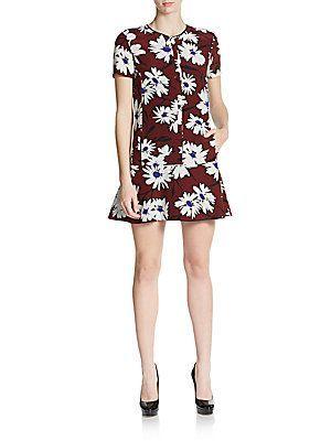 37e5b4da98 Nina Ricci Silk Daisy Print Mini Dress - Wine - White - Size 36 (4 ...
