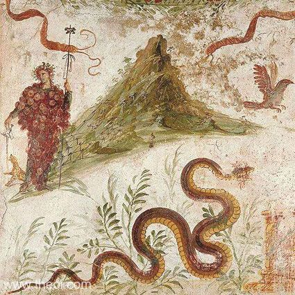 Bacchus (Dionysus), god of wine, on Mount Vesuvius. The serpent is Agathodaemon, the spirit of vineyards and grainfields. Fresco from the lararium in the house of the Centenary (Casa del Centenario) at Pompeii, now is in the National Archaeological Museum, Naples.