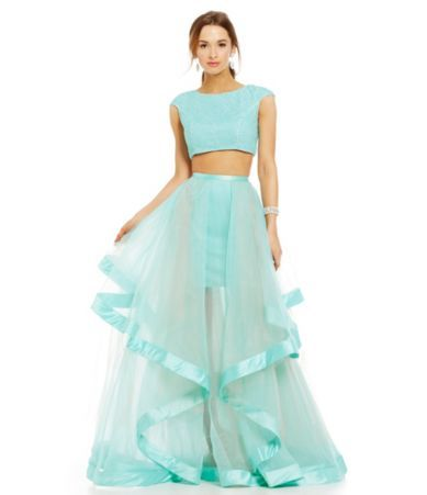 Glamour by Terani Couture Pearl Beaded Crop-Top Two-Piece Long Dress ...